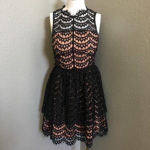 Laser cut lace dress